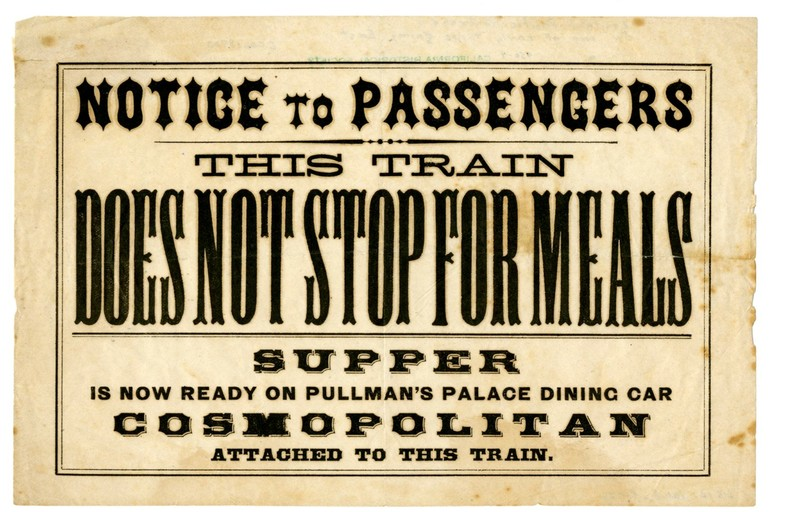 Notice from the Central Pacific Railroad, ca. 1870.